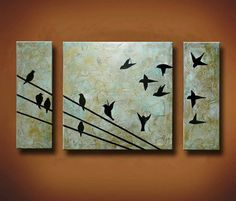 Painting of Birds on a Wire -- 3 Canvas Painting -- 40 x 24 Original -- Up With the Sun -- Available Now via Etsy