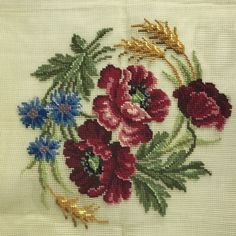 Embroidery Roses Vintage Preworked Needlepoint Canvas Roses Flowers x Prismacolor - Cross Stitch Cards, Cross Stitch Rose, Cross Stitch Flowers, Cross Stitching, Rose Embroidery, Cross Stitch Embroidery, Cross Stitch Designs, Cross Stitch Patterns, Hand Embroidery Tutorial
