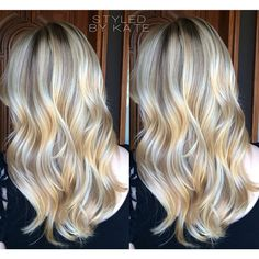 Balayage highlights over long loosely curled layers. I have a blonde balayage now but I love the glaze used here! Bronde Balayage, Balayage Highlights, Reverse Balayage, Curly Hair Cuts, Curly Hair Styles, Different Blond, Blond Beige, Beach Blonde Hair, Julianne Hough
