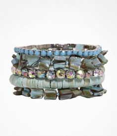 FIVE ROW SHELL STRETCH BRACELET SET at Express.  Lets skip the clothes and pile on some serious jewelry instead.