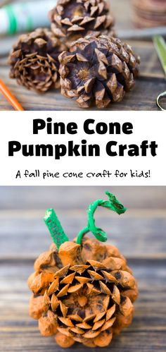 I love making DIY fall nature crafts with pine cones and so do my kids. This easy pumpkin craft is made with pine cones. It's a fun fall decoration or centerpiece! #pinecone #pumpkin #naturecrafts via @firefliesandmudpies Easy Arts And Crafts, Easy Crafts For Kids, Toddler Crafts, Kid Crafts, Preschool Crafts, Toddler Activities, Pinecone Crafts Kids, Pine Cone Crafts, Autumn Crafts