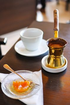 """comtesse-du-chocolat: """" Preparing Greek coffee is a special ritual. Enjoy it with some orange sweet or any other Greek fruit sweet! I Love Coffee, Coffee Set, Coffee Cafe, Coffee Break, Brown Coffee, Coffee Shops, Arabic Coffee, Turkish Coffee, Greek Desserts"""