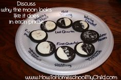 I wouldn't use Oreos obviously.but a healthier similar type of cookie would be fun. Oreo Phases of the Moon - Summer Fun Kid Activities. A little bit of unschooling. Can't go wrong with oreos. Science Classroom, Teaching Science, Science For Kids, Science Activities, Science Week, Science Fair, Kindergarten Classroom, Science Experiments, Teaching Ideas