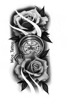 No photo description available. Forearm Sleeve Tattoos, Best Sleeve Tattoos, Body Art Tattoos, Hand Tattoos, Flower Tattoos, Clock Tattoo Design, Compass Tattoo Design, Rose Drawing Tattoo, Tattoo Sketches