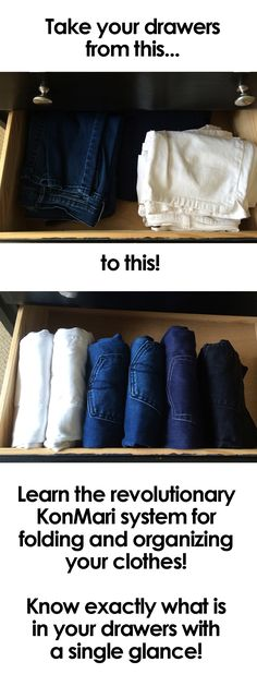 Do you know the proper way to fold and store your pants so you can tell at a glance exactly what you have? Learn the KonMari method of organization for your clothes and have the prettiest drawers in town! Source by organization Organisation Hacks, Dresser Organization, Storage Organization, Organising, Organizing Clothes Drawers, Closet Drawers, Organization For Clothes, Organizing Ideas, Clothes Storage Ideas Without A Closet