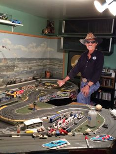 Richard Petty at play. Race Car Track, Race Tracks, Slot Car Racing, Slot Car Tracks, Race Cars, Richard Petty, King Richard, Nascar Crash, Hot Wheels Display