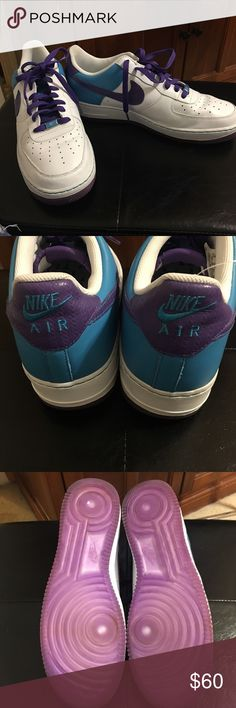 Nike Air Force 1 Low '07 White Purple Laser Blue Nike Air Force 1 Low '07 White Purple Laser Blue 25th Anniversary Edition Men's Size 13 In Excellent Used Condition Nike Shoes Sneakers