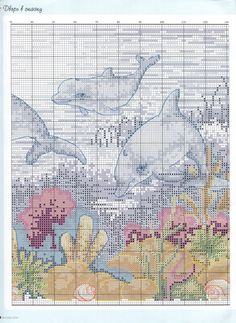 underwater wonder (Anchor Dolphin) (mid right) Cross Stitching, Cross Stitch Embroidery, Embroidery Patterns, Cross Stitch Designs, Cross Stitch Patterns, Cross Stitch Boards, Cross Stitch Animals, Afghan Crochet Patterns, Pet Birds