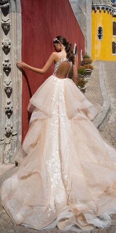 Milla Nova 2018 Wedding Dresses Collection ❤️ blush milla nova 2018 wedding dresses lace ball gown open back sleeveless with ruffled skirt veronic ❤️ See more: http://www.weddingforward.com/milla-nova-2018-wedding-dresses/ #weddingforward #wedding #bride #bridalgown #weddingdresses2018