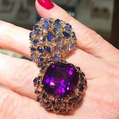 Is it cocktail hour yet?! ✨ Paolo Costagli's colorful cocktail rings in ombré sapphire and amethyst are the perfect party accessory! @paolocostagliofficial #cocktailrings #bigandbold #tisthejewelry