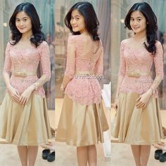 ideas dress brokat remaja model for 2019 Vera Kebaya, Kebaya Lace, Kebaya Dress, Batik Kebaya, Batik Dress, Lace Dress, Dress Up, Dress Brokat Modern, Modern Kebaya