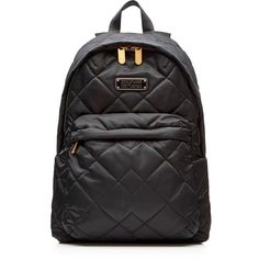 Marc by Marc Jacobs Quilted Backpack (240 SGD) ❤ liked on Polyvore featuring bags, backpacks, black, denim backpack, black quilted backpack, quilted backpack, black backpack and zip bags