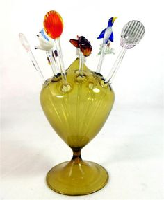 Dainty and delicate... Art Deco Bimini Lauscha Glass 12 Cocktail Sticks Amber Glass Balloon Stand 1930s - ebay £9.95