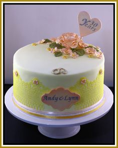 Anniversary cake with edible lace