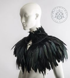 Feather capelet with high collar