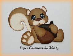 Craftecafe Mindy Squirrel Outdoors  premade paper piecing for scrapbook page