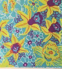 "10 1960's-1970's Zuzek Key West Print Fabrics, Inc. 9"" daffodil fabric squares"
