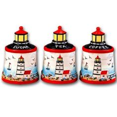 nautical tea pots | Lighthouse Faro Nautical Ceramic Kitchen Storage Jar 3 Pc Canister Set ...