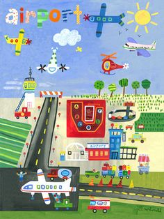 Airport canvas reproduction for a little boy's room.