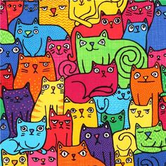 funny colorful cat Timeless Treasures fabric from the USA