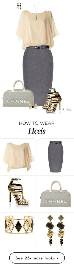 """""""Living life like its golden"""" by ksims-1 on Polyvore featuring Lipsy, Chanel, Gucci, Rebecca Minkoff and Alexis Bittar"""