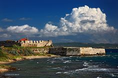 """Pantokratoras castle at the entrance of the Ambracian (""""Amvrakikos"""") Gulf, Preveza, Epirus, Greece Places In Greece, Greek Beauty, Timeline Photos, Greece Travel, Planet Earth, The Good Place, Around The Worlds, Boat, In This Moment"""