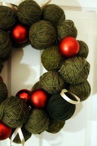 DIY Rustic Christmas Wreath use foam balls and cover in yarn