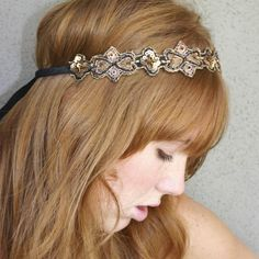 hippie chic Bohemian tie headband for women and teens, woman hair. $32.00, via Etsy.