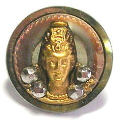 ButtonArtMuseum.com - 1870'S-80'S STEEL CUP BUTTON w/PEARL RING, GILT MARY QUEEN of SCOTS & CUT STEELS