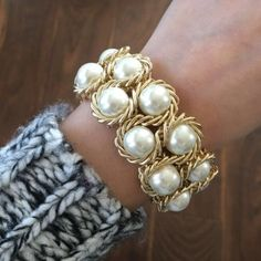 Pearl Cluster Bracelet  Material Content: faux pearls, elastic and 18k plated metals. Nickel Free, Lead Free! Add to your bundle and get it discounted. ❤️ T&J Designs Jewelry Bracelets