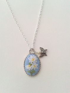 Daisy bouquet  hand embroidered pendant necklace by ConeBomBom, $22.00