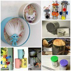 35 tin, tin can crafts, tin cans, craft ideas, kid