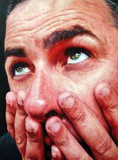 """Nail Biter"" - Stephen Martyn Welch, oil on board, 2008 {figurative realism art…"