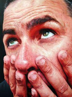 """""""Nail Biter"""" - Stephen Martyn Welch, oil on board, 2008 {figurative realism art…"""