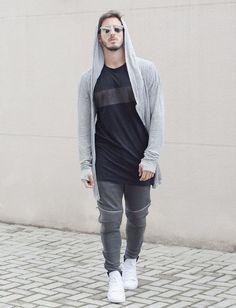 Sweatpants styled with Long Tshirt and a pair of White Sneakers