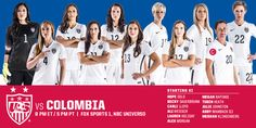 #USWNT starting lineup vs. Colombia! #NowItGetsReal