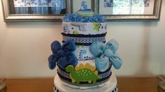Baby Boy Diaper Cake With Burlap Ribbon by ItsUpInTheAttic on Etsy