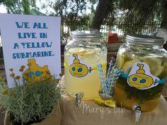 We all live in a yellow submarine με λεμονάδα και αρωματικό νερό! Yellow Submarine, Mason Jar Wine Glass, Tableware, Dinnerware, Dishes, Place Settings