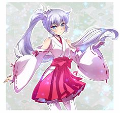 Weiss in what I want to headcannon as an Inuyasha inspired dress.