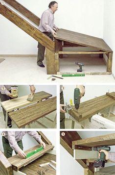 wooden stair landing – DIY House ideas - Housing Projects for World Wooden Staircases, Wooden Stairs, Wooden Projects, Diy House Projects, Escalier Design, Building Stairs, Staircase Makeover, Stair Landing, Loft Room