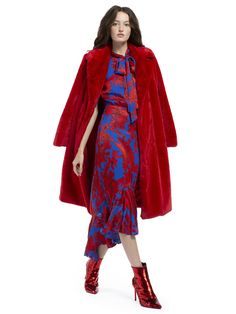 Alice + Olivia Montana Faux Fur Long Pea Coat - Ruby XS Red