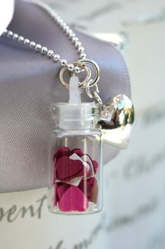 Valentine Hearts glass vial necklace with Sterling Heart charm on Etsy, $30.00