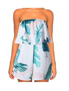 5e4dce93185c SUNNOW® Flower Pattern Strapless Jumpsuit Playsuit Jumpsuit 90% polyester  +, 10% elastane