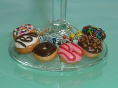 Donut Wine Glass Polymer Clay Charms  Set of by CharmingSculptHers, $36.00