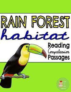 Rainforest Habitat, Rainforest Animals, Reading Comprehension Passages, Comprehension Questions, Animal Adaptations, Main Idea, Graphic Organizers, Nonfiction, Habitats