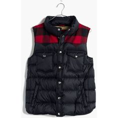 MADEWELL Penfield® Rockford Vest ($200) ❤ liked on Polyvore featuring outerwear, vests, black red buffalo, red vest, black down vest, buffalo plaid vest, black waistcoat and nylon vest