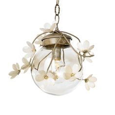 "Globe Branches    Branches with soft colored leaves surround a smokey glass orb for a bright, natural look.    Style Number: A93    Frame Color: Sage, Twig, Plum Bark, Autumn Bark, Custom  Number of Lights: 1 Edison  Size: 14""w x 11""h"