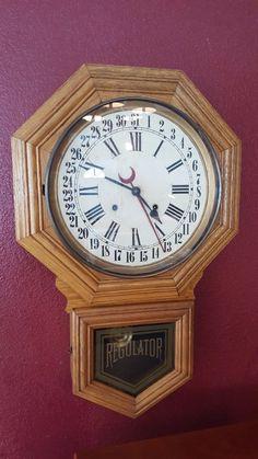 1900s E Ingraham Dew Drop Calendar Wall Clock Antique Roman Numerals Oak | eBay