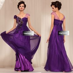 Purple Chiffon Cap Sleeve Military Ball Gown Engagement Evening Dresses SKU-122661