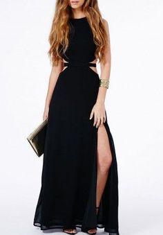 Black Chiffon Prom Dress,Sleeveless Evening Dress,Sexy Side Slit Prom Dress